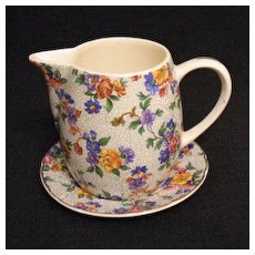 Vintage Collectible  Erphila Dorset Pattern Cheery Chintz Gold Trim Syrup & Under plate Excellent Condition