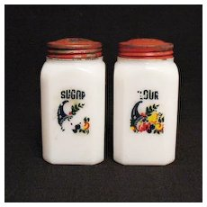 Vintage Collectible Milkglass Flour & Sugar Shaker 1930s Very Good Condition