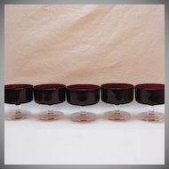 Vintage Arc International Arcoroc (5) Ruby Red Tempered Glass Sherbets 1960-70s Excellent Condition