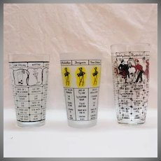 (3) Vintage Drink Mixing Recipe Glasses with Recipes 1950s Excellent Condition