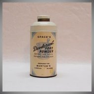 Vintage Gracie's Metal Deodorant Foot Powder Container Morton's LaMoille Illinois 1930-40s Excellent Condition