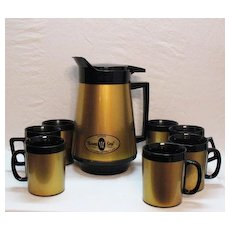 Vintage West Bend Thermo Ware Coffee Carafe 7 Thermo Insulated Mugs1960s Very Good Condition