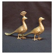 Vintage Solid Brass Peacock Figures 1950s Made in India Very Good Condition