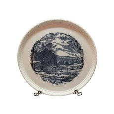 Vintage Royal China Currier and Ives Cake Plate Getting Ice Pattern 1950-70 Excellent condition