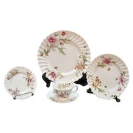 Vintage Royal Doulton Fine Bone China (12) Five Piece Place Settings Clovelly Pattern 1941-61 Very Good Condition