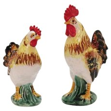 Vintage Pair of Lefton Rooster & Hen Figurines 1953-71 Very Good Condition
