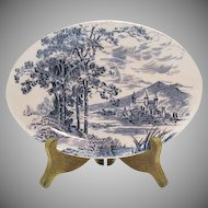 Vintage Wedgwood Oval Gravy Boat Underplate Blue Countryside Pattern Very Good Vintage condition