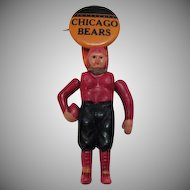 Vintage Chicago Bears Pin Back Button & Celluloid Football Player 1930s