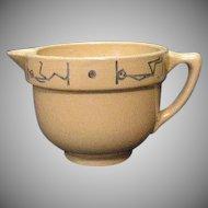 Vintage Rare Buckeye Pottery Yellow Ware Small Milk/Creamer Pitcher Blue Stick man Motif Excellent Condition