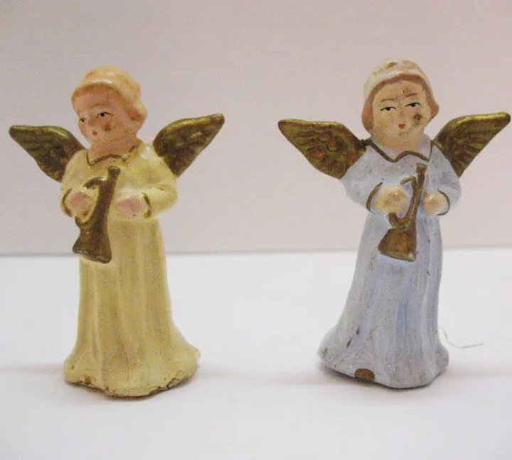 vintage christmas hard plastic angel figurines made in western germany us zone original boxes excellent condition - Christmas Angel Figurines