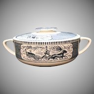 Vintage Currier & Ives Blue Casserole With Lid by Royal China 1950s Excellent Condition