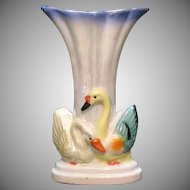 Vintage Iridescent Porcelain Vase Swan Motif 1920-30s Excellent Condition