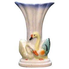 Vintage Iridescent Porcelain Vase Swan Motif 1920-30s Excellent Condition