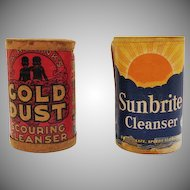 Two Vintage Cleaning Products Gold Dust Scouring Cleanser & Sunbrite Cleanser Both Unopened 1930s Good Condition
