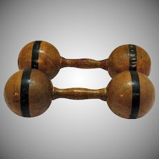 Victorian Era Antique Wooden Dumbbells Very Good Condition