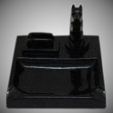 Vintage Scotty Dog Black Glass Ashtray with Match Holder 1930s Very Good Condition
