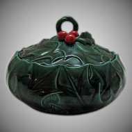 Lefton Green Holly Ceramic Covered Candy Box 1953-71 Excellent condition