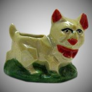 Vintage Iridized Dog Pin Cushion Holder 1930s Very Good Condition
