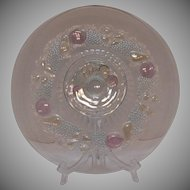 Vintage Westmoreland Della Robbia Cake Stand Flashed Fruit 1928-1940 Excellent Condition