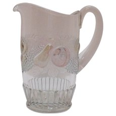 Vintage Westmoreland Della Robbia Flashed Fruit 32 Oz. Pitcher 1928-40s Very Good Condition
