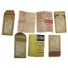 Vintage Packing Envelopes & Advertising Pages Wheaties License Plates Promotion 1953-54 Good to Very Good