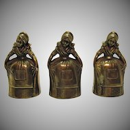3 Dutch Women Brass Bells Made in Korea 1950s Very Good Condition
