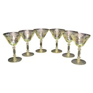 (6) Vintage Cambridge Yellow Champagne/Tall Sherbets Stemware Apple Blossom Etching Very Good Condition