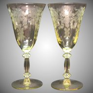 (2) Vintage Cambridge Yellow Water Glasses Apple Blossom Etching 1930-40s Very Good Condition