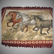 Vintage Pictorial Blanket Three Running Horses Fringes Very Good Condition