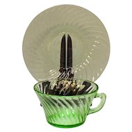 Vintage Hocking Glass Co 5 Cup Saucer Sets Green Depression Glass Spiral Pattern 1928-30 Very Good Condition