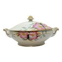 Vintage Noritake Porcelain Round Covered Vegetable with Gold Finial Azalea Pattern #19322 Very Good Condition