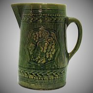 Vintage McCoy Green Pottery Pitcher Grape Motif 1920s Good Condition