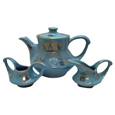 Vintage Pearl China Co. Three Piece Tea Set Blue with Gold Hand Painted Floral Motifs 1930-58 Very Good Condition