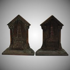 Vintage 1920s Cast Iron Bookends Depicting a Steeple Church from Early Colonial Days Very Good Condition