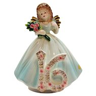 Vintage Josef Original Music Box/Figurine 16th Year Birthday Girl 1980s Very Good Condition