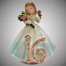 Vintage Josef Original Music Box/Figurine 16th Year Birthday Girl 1980s Very Good Condition