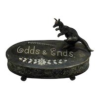 Vintage Metal Vanity Odds & Ends Oval Box Kangaroo Handle Early 1900s Very Good Condition