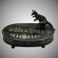 Vintage Metal Vanity Odds & Ends Oval Box Kangaroo Handle Early 1900s Very Good Condition