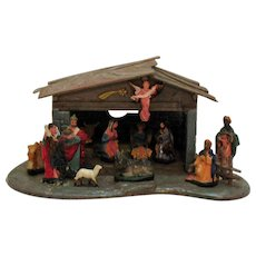 Vintage Nativity Scene Hard Plastic 1950s Good Condition