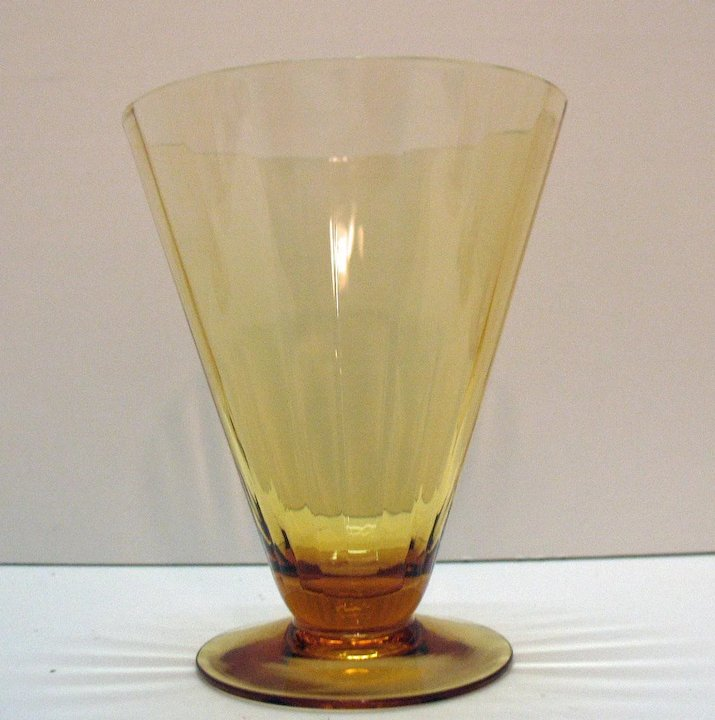 8 Amber Colored Cone Shaped Glasses With Optic Effect 1920 30s Very