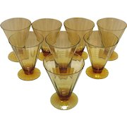 (8) Amber Colored Cone Shaped Glasses with Optic Effect 1920-30s Very Good Condition
