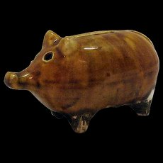 Vintage Pottery Pig Still Bank Late 1800s Excellent Condition