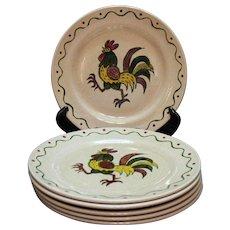 Vintage Metlox Vernon Poppytrail California Provincial (6) 10 Inch Dinner Plates 1956-82 Very Good Condition
