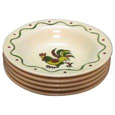 Vintage Metlox Vernon Poppytrail California Provincial Pattern (5) Fruit/Dessert Bowls 1956-82 Very Good Condition