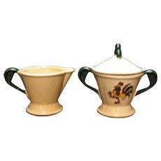 Vintage Metlox Vernon Poppytrail California Provincial Pattern Creamer & Sugar Bowl with Lid 1956-82