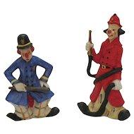 Two Vintage Mann Decorative Clown Porcelain Figurines 1980s Good Condition