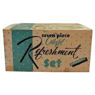 Vintage Anchor Hocking Refreshment Set Pitcher & Glasses 1960s Original Box Good Condition