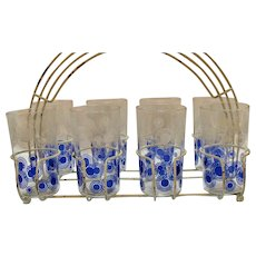 Vintage Metal Carrier with 8 Glasses Circle Motifs 1930-40s Good Condition