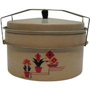 Vintage Metal Pie/Cake Carrier 1930-40s Flower Motif Good Condition