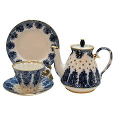 Vintage Porcelain Tea Pot Cup & Saucer Luncheon Plate Made in Russia Excellent Quality & Condition